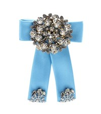 Dolce And Gabbana Crystal Embellished Silk Satin Brooch Blue