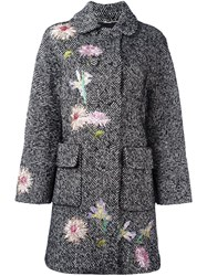 Blumarine Embroidered Tweed Coat White