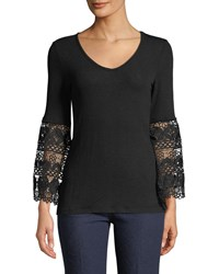 Chelsea And Theodore Crochet Bell Sleeve Jersey Tee Black