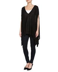Minnie Rose Space Dye V Neck Poncho Black