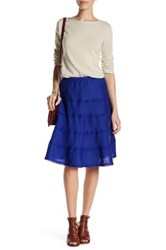 Allen Allen Raw Seam Linen Tiered Skirt Petite Blue