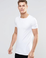 Asos Longline Muscle T Shirt With Square Neck In White White