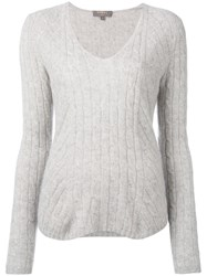 N.Peal Diagonal Cable V Neck Jumper Grey
