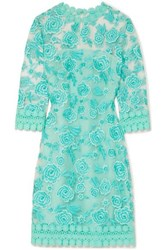 Naeem Khan Guipure Lace Trimmed Embroidered Tulle Mini Dress Light Blue