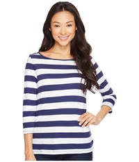 Lilla P 3 4 Sleeve Boat Neck Baltic White Women's Long Sleeve Pullover Blue