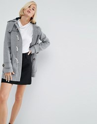 Asos Wool Blend Duffle Coat With Checked Liner Grey Marl