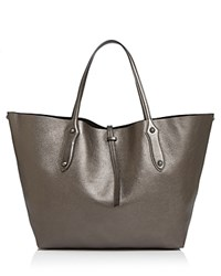 Annabel Ingall Isabella Large Metallic Leather Tote Anthracite Gray