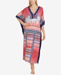 Ellen Tracy Printed Contrast Trim Caftan Orange Multi