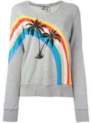 Pam And Gela Printed Palm Trees Sweatshirt Grey