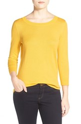 Women's Halogen Three Quarter Sleeve Sweater Yellow Mimosa