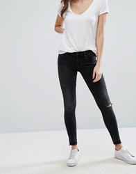 Only Coral Low Rise Ripped Knee Skinny Jeans Black
