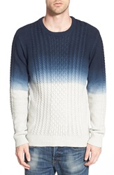 Bellfield Dip Dye Cable Knit Crewneck Sweater Navy