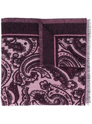 Etro Paisley Print Scarf Pink And Purple