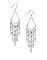 Lucky Brand California Gardens Mother Of Pearl Beaded Chandelier Earrings Silver