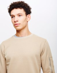 The Idle Man Crew Neck Sweatshirt With Sleeve Pocket Off White Cream