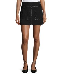 Joie Guadeloupe Studded Suede A Line Mini Skirt Black