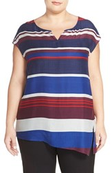Plus Size Women's Caslon Print Sleeveless Asymmetrical Hem Blouse Navy Multi Stripe