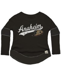 Retro Brand Women's Anaheim Ducks Faceoff Thermal Long Sleeve T Shirt Black