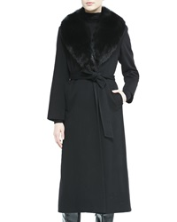 Sofia Cashmere Fur Collar Belted Long Wrap Coat