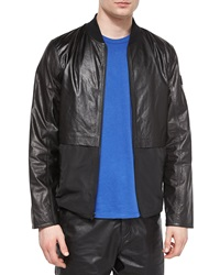 T By Alexander Wang Leather Nylon Mix Bomber Jacket Black
