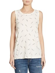 Current Elliott Feather Printed Muscle Tee Dirty White Feathers
