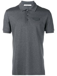 Givenchy Leather Logo Polo Shirt Grey