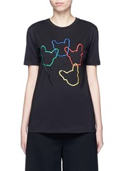 Etre Cecile 'Dog Ring' Embroidered Cotton Jersey T Shirt Multi Colour