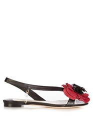 Olgana Paris Poppy Floral Detail Leather Sandals Black Multi