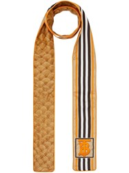 Burberry Monogram Icon Stripe And Fish Scale Print Silk Skinny Scarf Neutrals