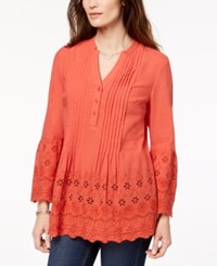 Styleandco. Style Co Petite Cotton Eyelet Split Neck Top Created For Macy's Smoked Salmon