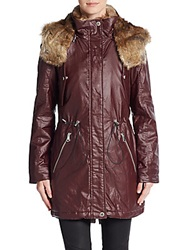 Marc New York Lauren Faux Fur Trimmed Coated Jacket Merlot