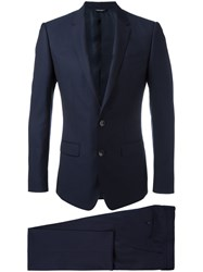 Dolce And Gabbana Classic Dinner Suit Blue
