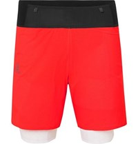 Salomon Exo Twinskin 2 In 1 Ripstop And Stretch Jersey Shorts Red