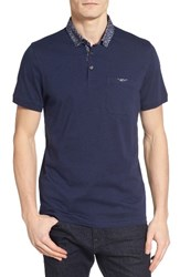 Ted Baker Men's London Unser Woven Collar Polo Dark Blue