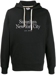 Saturdays Surf Nyc Logo Embroidered Hoodie Black