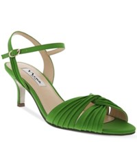 Nina Camille Two Piece Mid Heel Evening Sandals Women's Shoes Apple Green