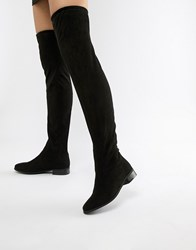 London Rebel Flat Pull On Over The Knee Boot Black Micro