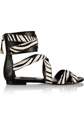 Balmain Zebra Print Calf Hair And Leather Sandals