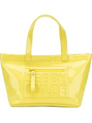 See By Chloe Logo Embossed Tote Bag Yellow And Orange
