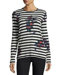 Proenza Schouler Striped Floral Print Long Sleeve Tee Black White Black White