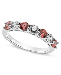 Arabella Sterling Silver Ring Pink And White Swarovski Zirconia Ring 1 1 5 Ct. T.W.