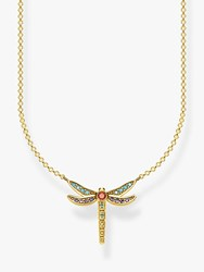 Thomas Sabo Glam And Soul Crystal Crystal Dragonfly Pendant Necklace Gold Multi