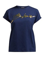 Balmain Logo Print Cotton T Shirt Navy Gold