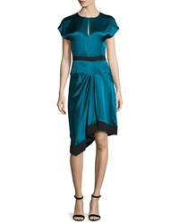 J. Mendel Cap Sleeve Two Tone Dress Empress Green Noir Women's