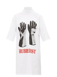 Christopher Kane Rubberist Print Cotton T Shirt Dress White