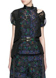 Sacai Botanical Print Embroidery Lace Pleat Insert Top Multi Colour