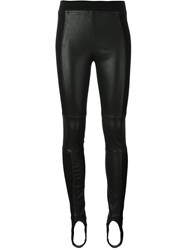 Paco Rabanne Leather Panel Trousers Black