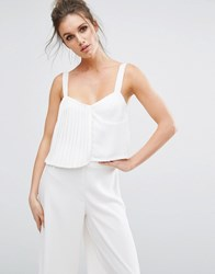 Missguided Pleated Detail Cami Top White