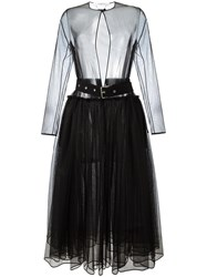 Givenchy Sheer Tulle Belted Dress Black