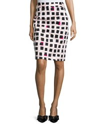 Kate Spade Abstract Checkered Pencil Skirt